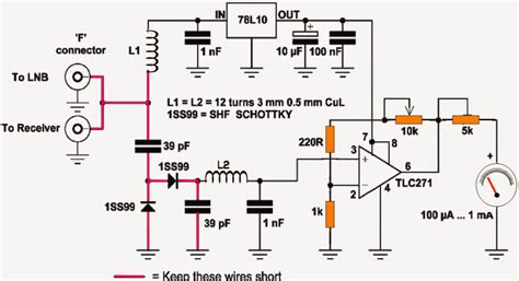 Simple Satellite Signal Strength Meter Circuit For