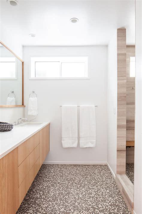 Bathroom Floors Photos by Modern White Bathroom Features Brown Mosaic Tile Floors Hgtv