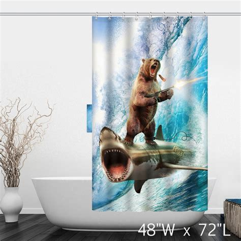 jaws shower curtain jaws shower curtain home the honoroak