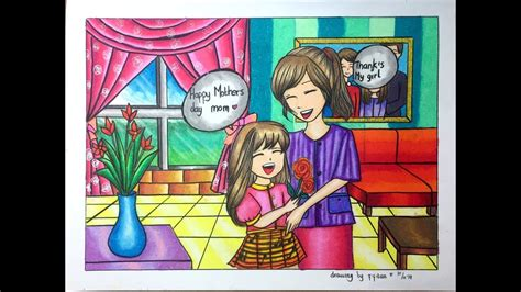 gradasi warna oil pastel mothers day  youtube
