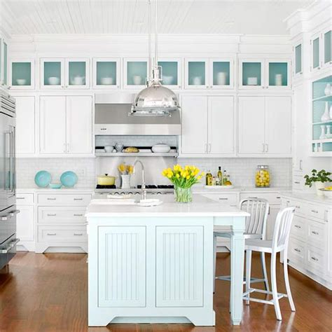 White And Turquoise Blue Kitchen  Cottage  Kitchen Bhg