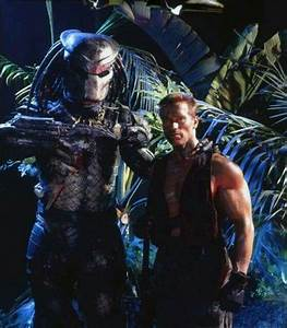 Kevin Peter Hall as the Predator with Arnold Schwarzenegger in a publicity still for #Predator ...