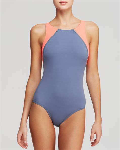 high neck one swimsuit dkny zipper high neck maillot one swimsuit in