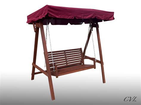 wooden garden hammock swing canopy 3 seater bench fsc