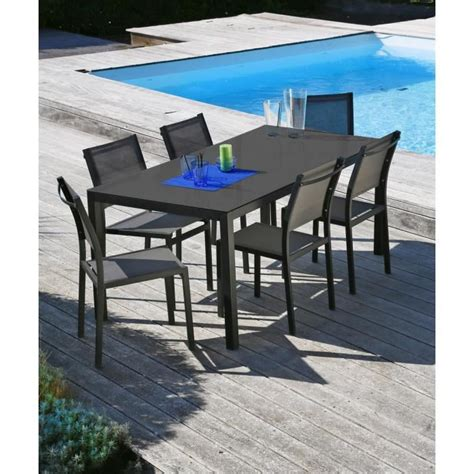 chaise salon de jardin ensemble table de jardin 160 6 chaises aluminium gris