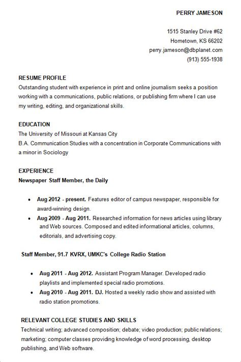 Exle Of A College Resume by 10 College Resume Templates Free Sles Exles Formats Free Premium