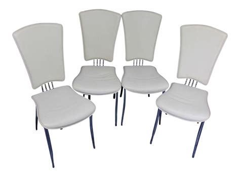 white leather dining side chairs set of 4 chairish