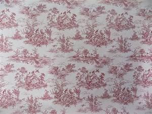 Toile De Jouy : vintage french lovers scenes toile de jouy red cotton fabric material 3 sizes ebay ~ Teatrodelosmanantiales.com Idées de Décoration