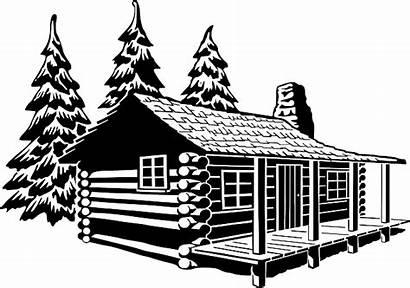 Cabin Log Pixabay Vector Rustic Clipart Camp
