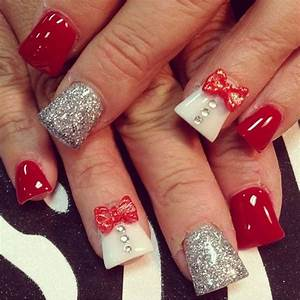 Red acrylic nail art #3dnails | See more at http://www ...