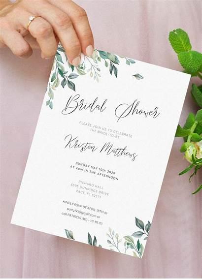 Shower Bridal Invitation Leaves Invitations Printable Template