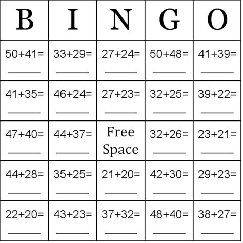 Addition Using Numbers Between 2050 Bingo Cards