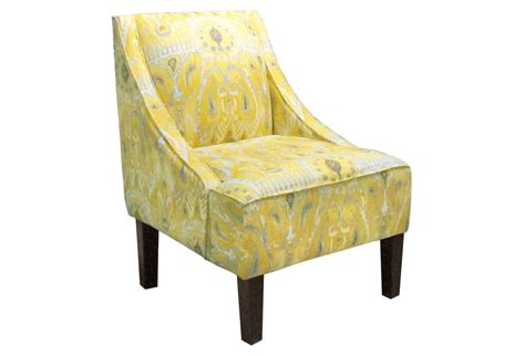 Yellow Swoop Arm Accent Chair by Fletcher Swoop Arm Chair Yellow Ikat From One