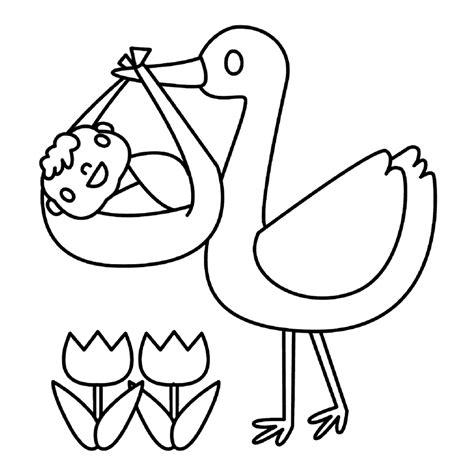 Kleurplaat Met Baby by Leuk Voor Een Ooievaar Met Een Baby Tje