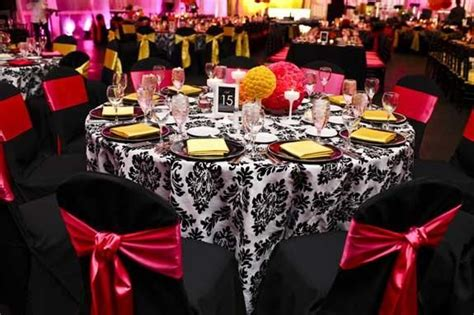 damask black  white table linen black  fuschia
