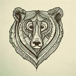 bear face illustration, drawing, design | tattoos ...