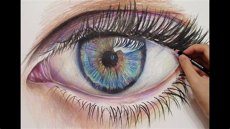 drawing  realistic eye  colored pencils time lapse