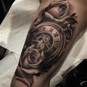Watch with rose tattoo - 100 Awesome Watch Tattoo Designs