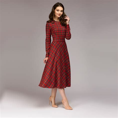 Women Vintage Sashes Red Plaid Dress Ladies Long Sleeve O