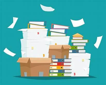 Documents Paper Pile Desk Messy Carton Boxes