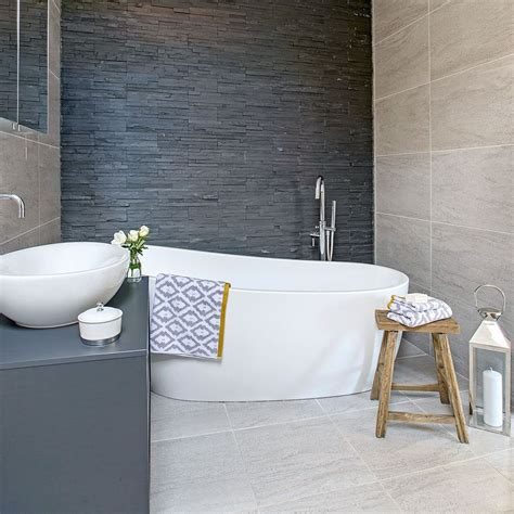 Slate Tile Bathroom Designs by Slate Clad Bathroom With Freestanding White Slipper Bath