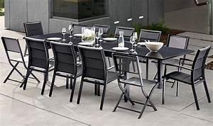 Table 12 Personnes : salon de jardin noir 12 personnes avec rallonge modulo ~ Teatrodelosmanantiales.com Idées de Décoration