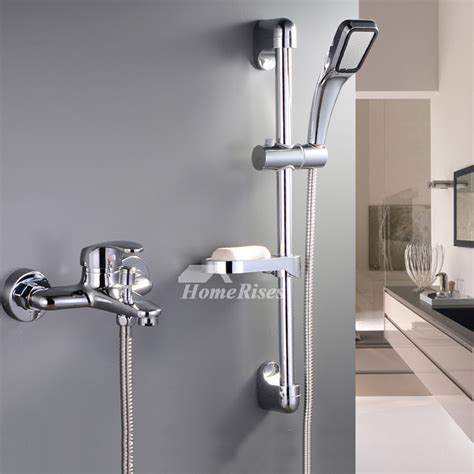 exposed shower system wall mount silver chrome single