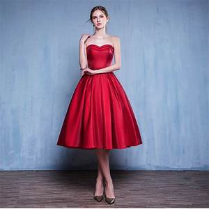 real photo elegant tea length red party dress 2017 robe de With wedding guest dresses juniors