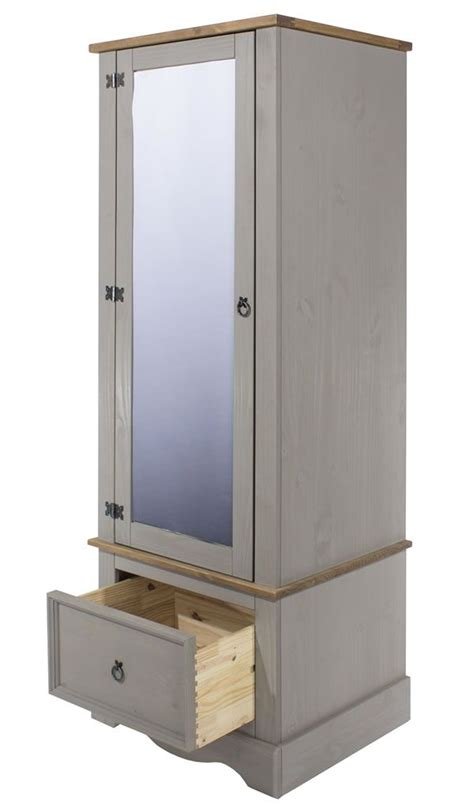 Small Mirrored Wardrobe by Coson Grey Pine Single Small Armoire Wardrobe With