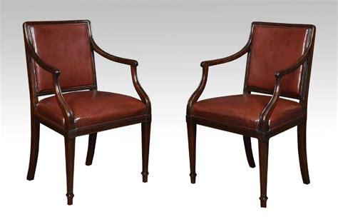 Pair Mahogany Hepplewhite Style Office Arm Chairs