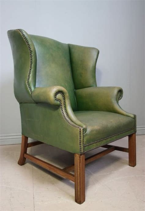 edwardian antique green leather wing chair 119785