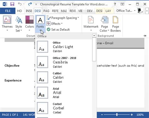 Resume Template Word 2013 by How To Create Chronological Resume In Word