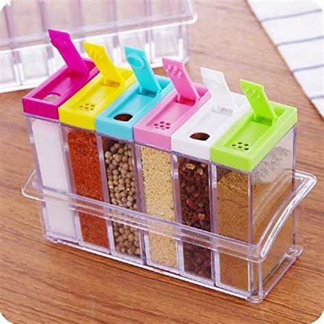 kitchen storage containers shopping 6 pc transparent spice storage pot onlinebdshopping 8619