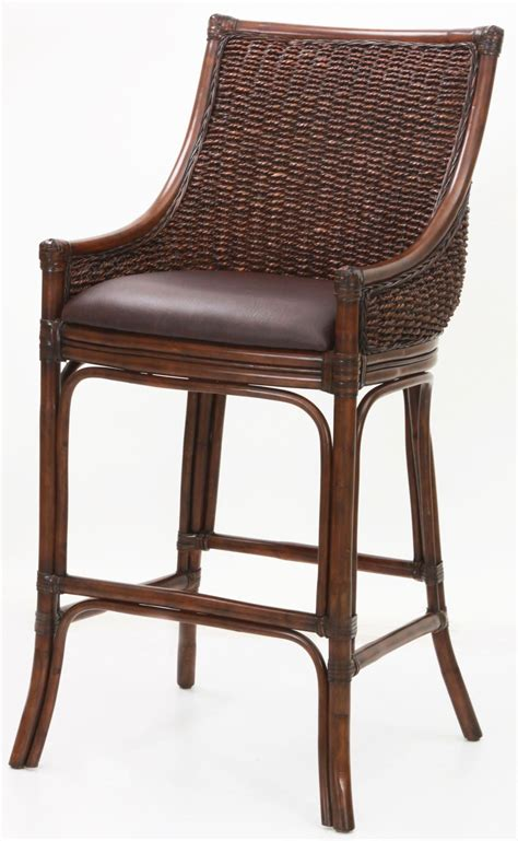 rattan bar stools with backs woven back 26 quot rattan frame stool from american 7628