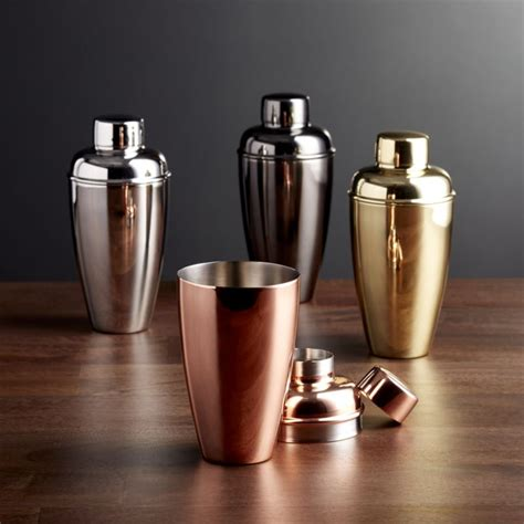 cocktail shaker stainless steel cocktail shakers crate and barrel
