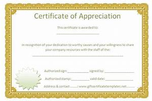 Golden border certificate of appreciation free for Free certificate of appreciation template downloads