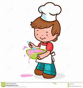 Boy clipart cooking - Pencil and in color boy clipart cooking