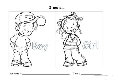 I Am A Boygir Worksheet  Free Esl Printable Worksheets Made By Teachers