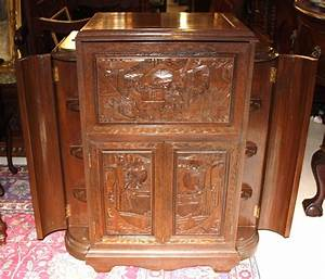 Beautiful Carved Antique Mahogany Chinese Cocktail Cabinet ...