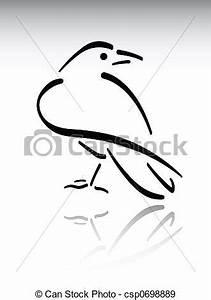 Stock Illustration of Crow - Black brush stroke raven on ...