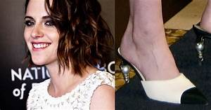 Kristen Stewart in Iconic Pearl-Heeled Chanel Toe Cap Pumps