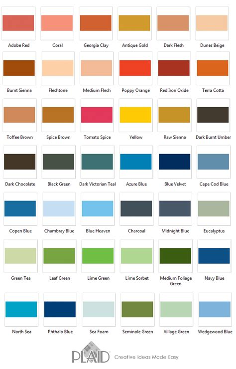 42 great shades from plaid delta ceramcoat acrylic paint