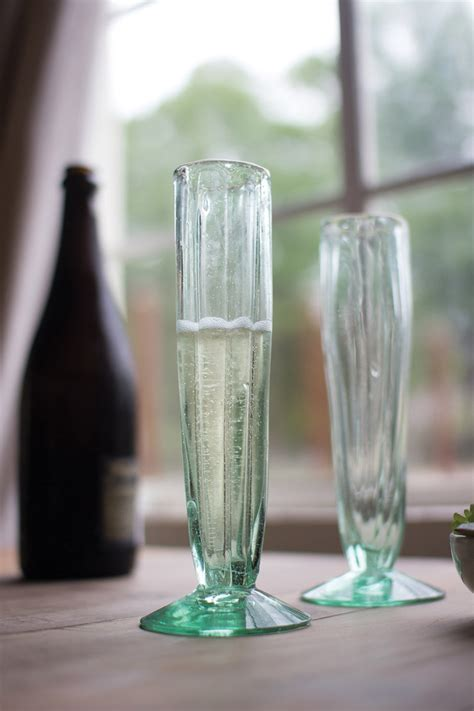 set   recycled glass champagne flute fluted cone