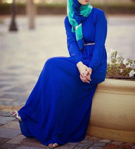blue maxi dress  hijab hijabiworld