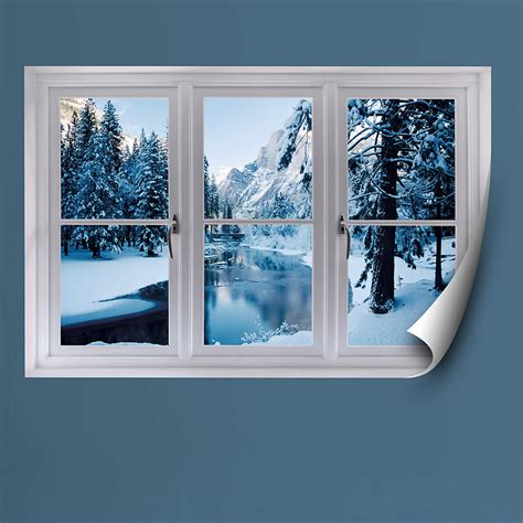 merced river  winter instant window wall decal shop