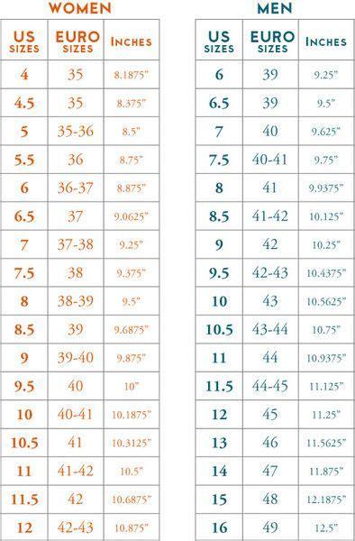 shoe size conversion chart inches  usa size women men
