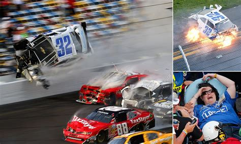 Race Car Wreck by Fiery Car Wreck During Nascar Race At Daytona