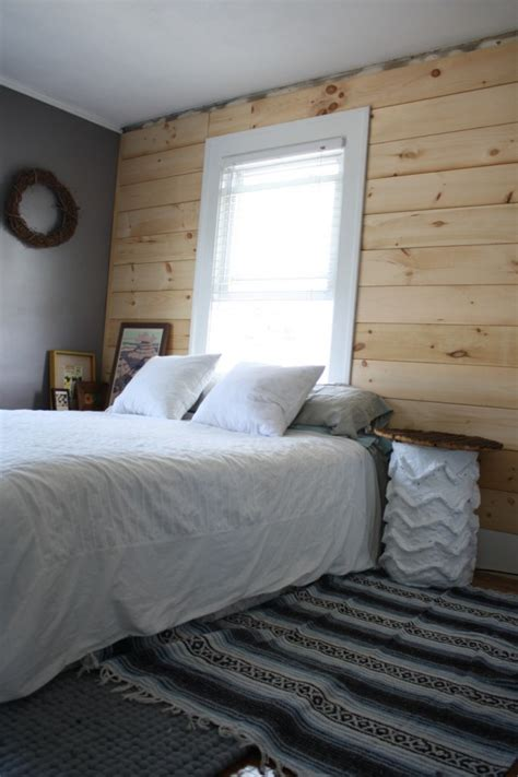 Shiplap Pine Wall Paneling by Diy Shiplap Paneling As A Custom Bedroom Headboard Merrypad