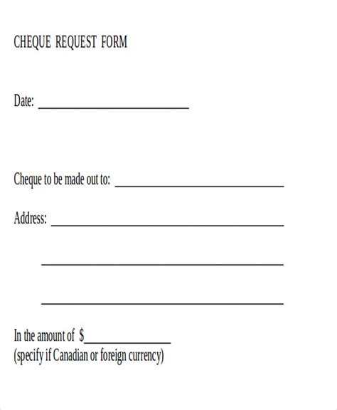 sample cheque request form  examples  word