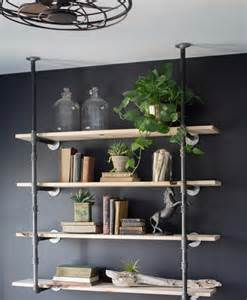 "Black Pipe Bookshelf, Open Bookshelf, Wall/Ceiling Mounted Bookshelf, Parts Kit for ""DIY"" Project, 4-12"" Shelves, 66"" Tall"